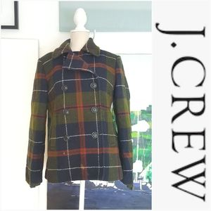 J. CREW GREEN NAVY RED PLAID THINSULTE LINED COAT